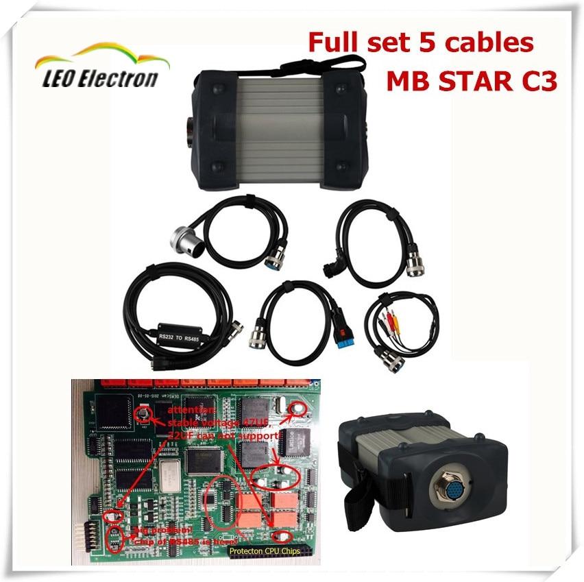 Цена за DHL Бесплатная Shipping1! 2017 A + + Качество MB Star C3 с MB C3 RS485 cablesall новый красный реле и пять сильный Медь кабель Звезда C3