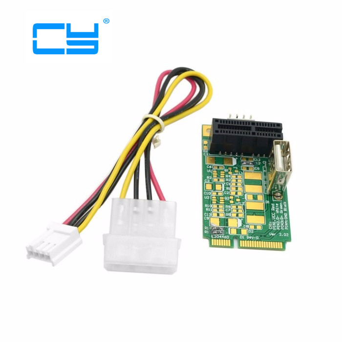 Free shipping Mini PCI-E to PCI-E x1 pci Express 1X Extension Cord mini pcie to pcie Adapter Card with USB Riser Card free shipping atx pci e pci express pcie 6pin to 5pcs dc 5 5x2 1mm plugs of gridseed mini 60cm power cord cable