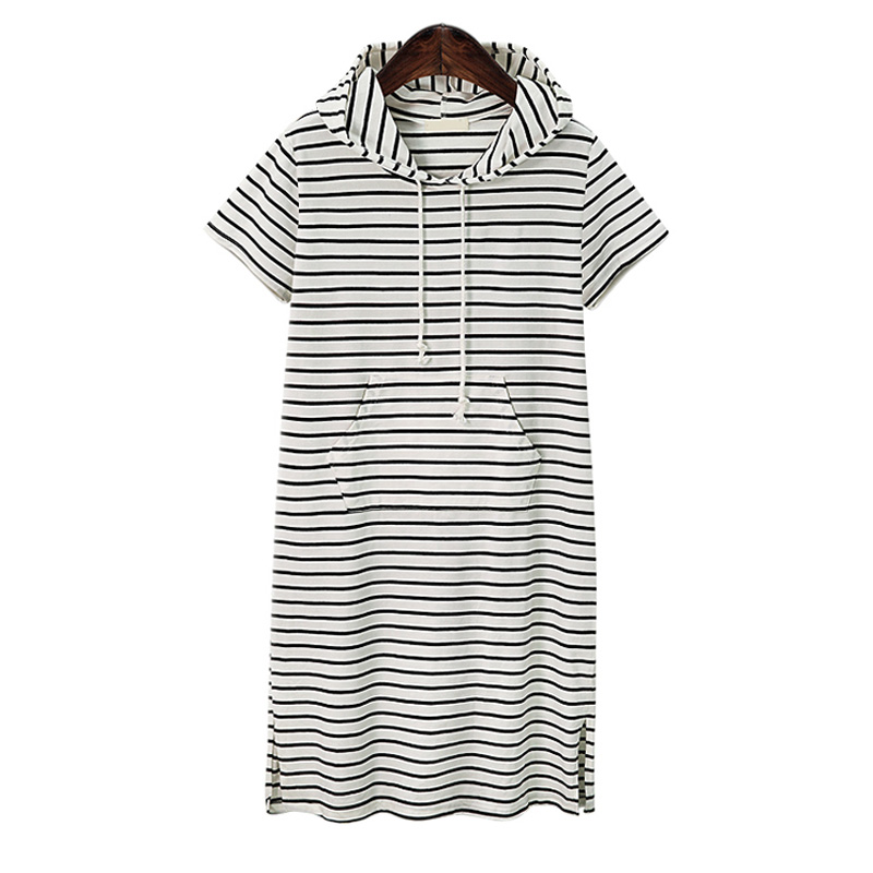 Plus Size Women Clothing 2018 Summer Dress Fashion Casual Loose Striped Short Sleeve Hoodies vestidos
