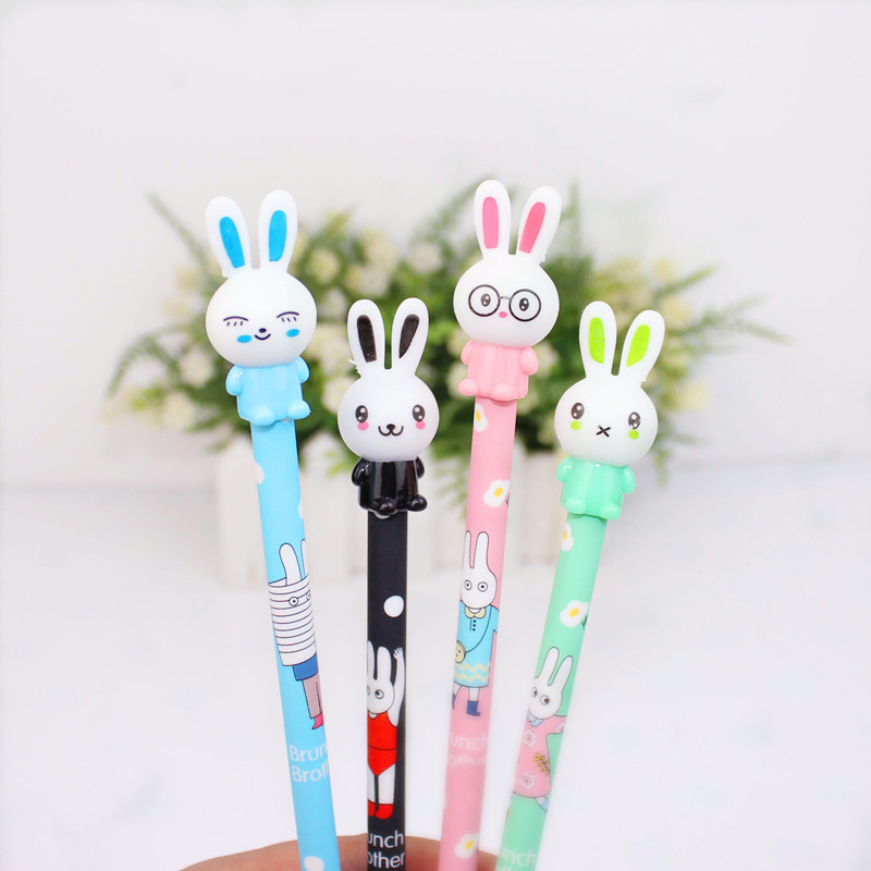 цена на Cute Kawaii Rabbit Plastic Gel Pen Cartoon Pens For Kids Writing Gift School Supplies Free Shipping 3204
