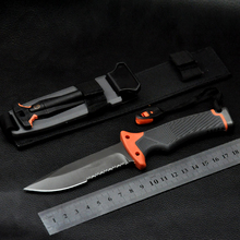 Sobrevivientes cuchillo de hoja fija cuchillos de bolsillo al aire Ultimater supervivencia del cuchillo que acampa del cuchillo 59HRC Saw media