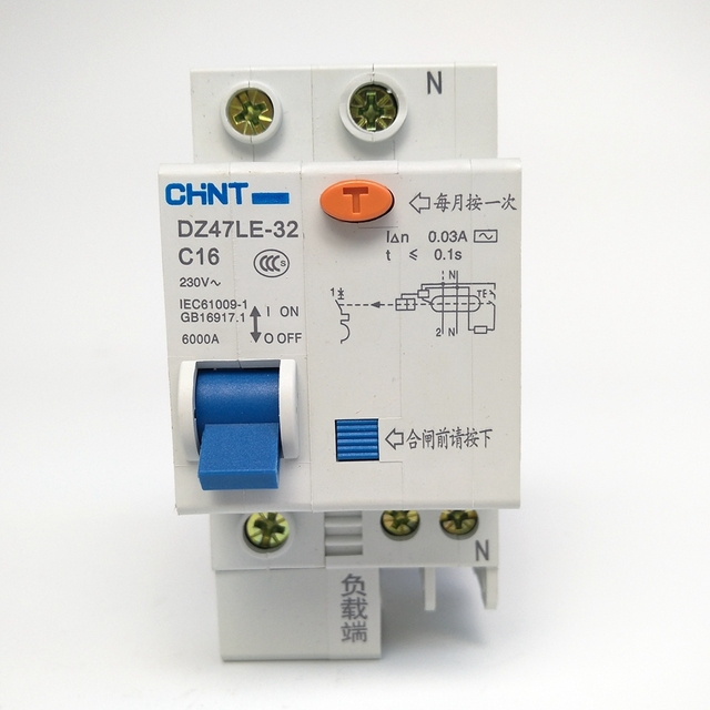 CHINT DZ47LE 32 1P+N C16A 30mA Earth Leakage Circuit Breaker/Residual  Current
