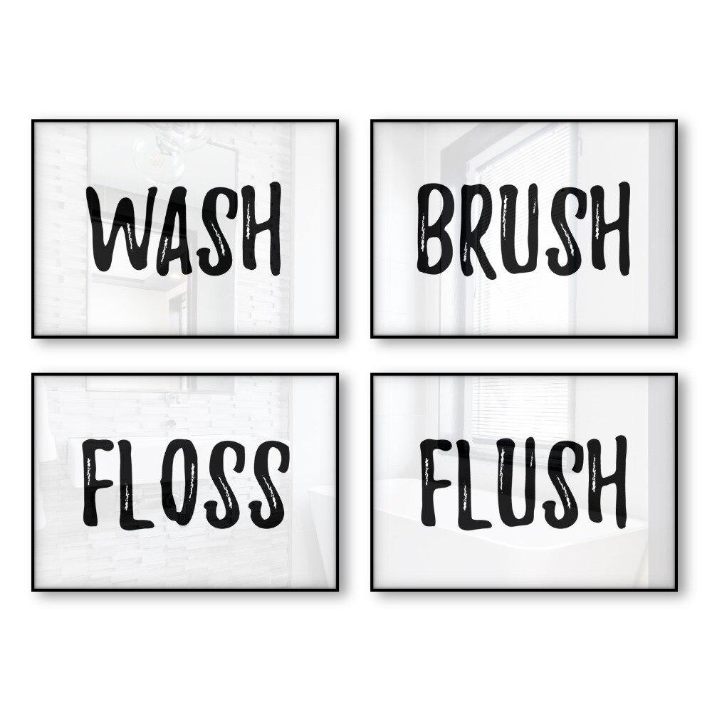 Flush Wash Brush Floss Bathroom Decor Wall Art