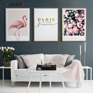 Image 1 - מודרני פרחי בד ציור על קיר רומנטי פורח כרזות הדפסי ורוד פלמינגו דקורטיבי תמונות לסלון בית