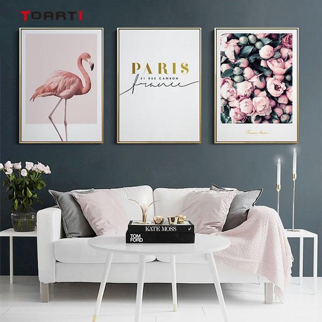 מודרני פרחי בד ציור על קיר רומנטי פורח כרזות הדפסי ורוד פלמינגו דקורטיבי תמונות לסלון בית