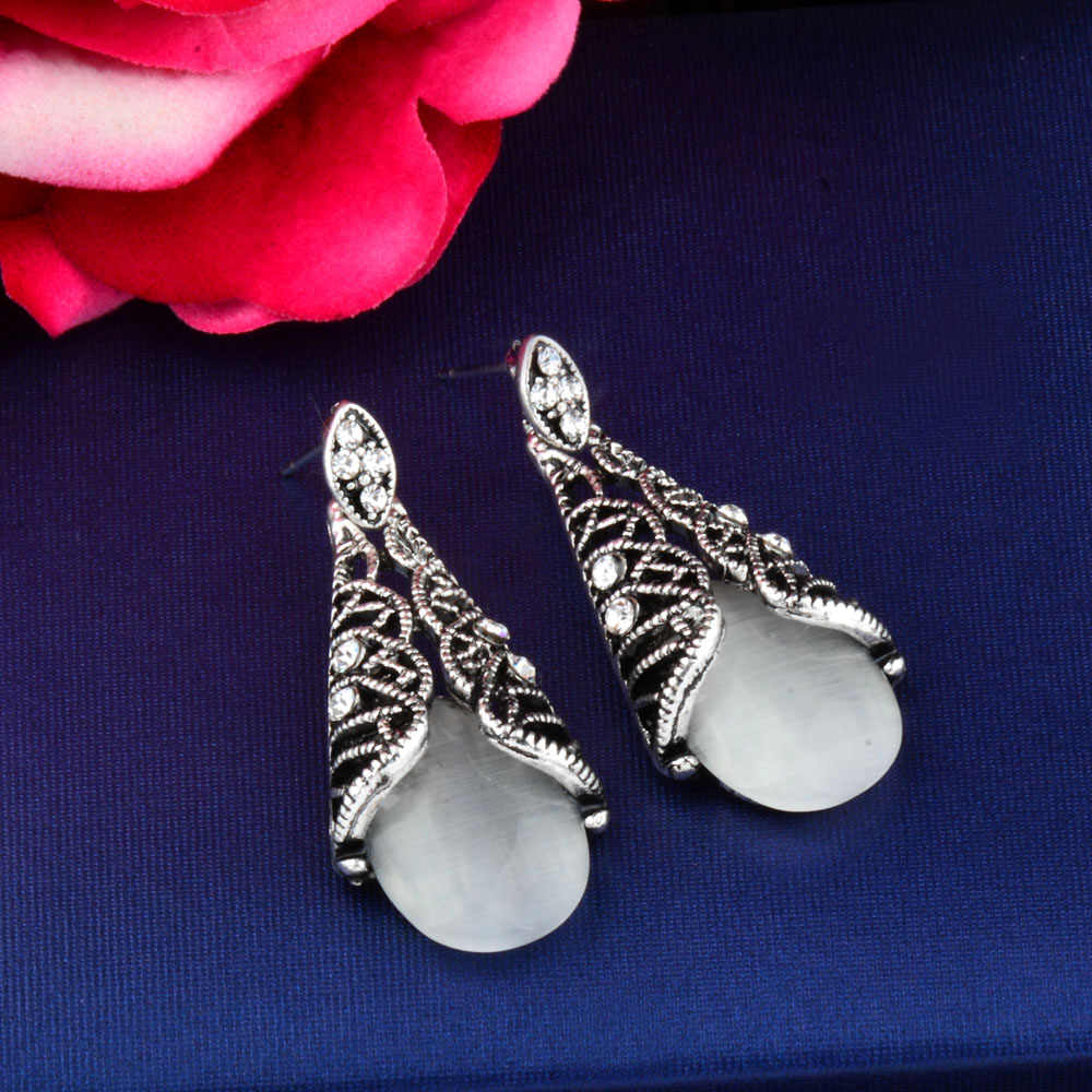 SINLEERY Vintage สีขาวสีฟ้าสีชมพูสีดำ Opal Dangle ต่างหูสำหรับผู้หญิงโบราณ Silver Luxury Luxury เครื่องประดับ ES572 SSH