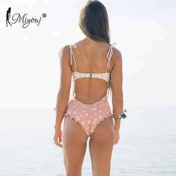 Miyouj Sexy Crinkle Floral Swimsuit Hollow Out Swimwear Ruffle Biquini 2019 Print Bathing Suit Women Polka Dot String Bow Bikini