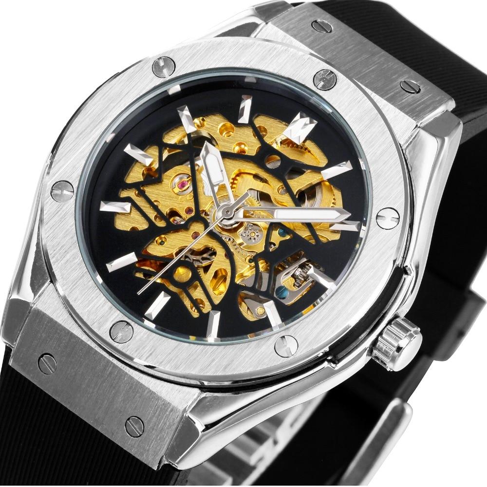 WINNER Men Military Watches 2017 Fashion Auto font b Mechanical b font Wristwatch Rubber Strap Skeleton