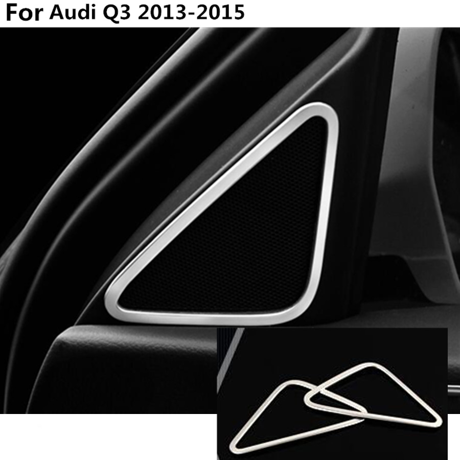 Car styling Stainless steel Car A column Audio Speak Window Windshield Side triangle lamp trim 2pcs For Audi Q3 2013 2014 2015