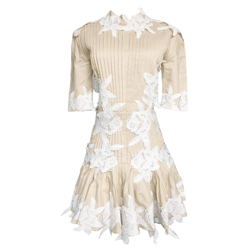 Designer Robe Nu Pull Robes De Gamme Lin Haut Piste En Dentelle Broderie 2019 Femmes Parti Printemps Manches Dos Évider g8aqwB0B
