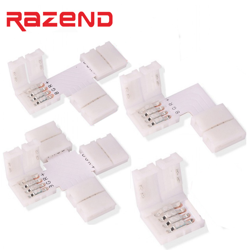 5pcs /lot 4pin RGB L T X Shape LED Connector Clip For connecting corner angle 5050 RGB LED Strip light solderless PCB board 10mm tanbaby 1pcs lot 10mm 4pin l shape led connector for 5050 rgb color led strip no welding strip connector for rgb strip light