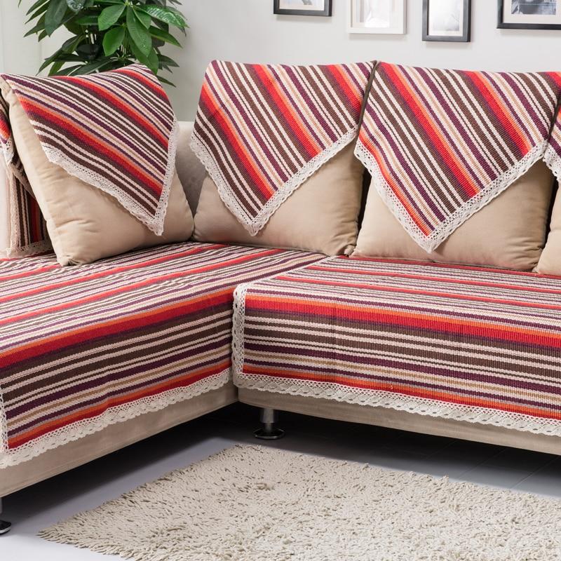 В полоску вязаный старый grogram диван полотенце четыре сезона хлопчатобумажная ткань диван полотенце скольжению моды диван полотенце