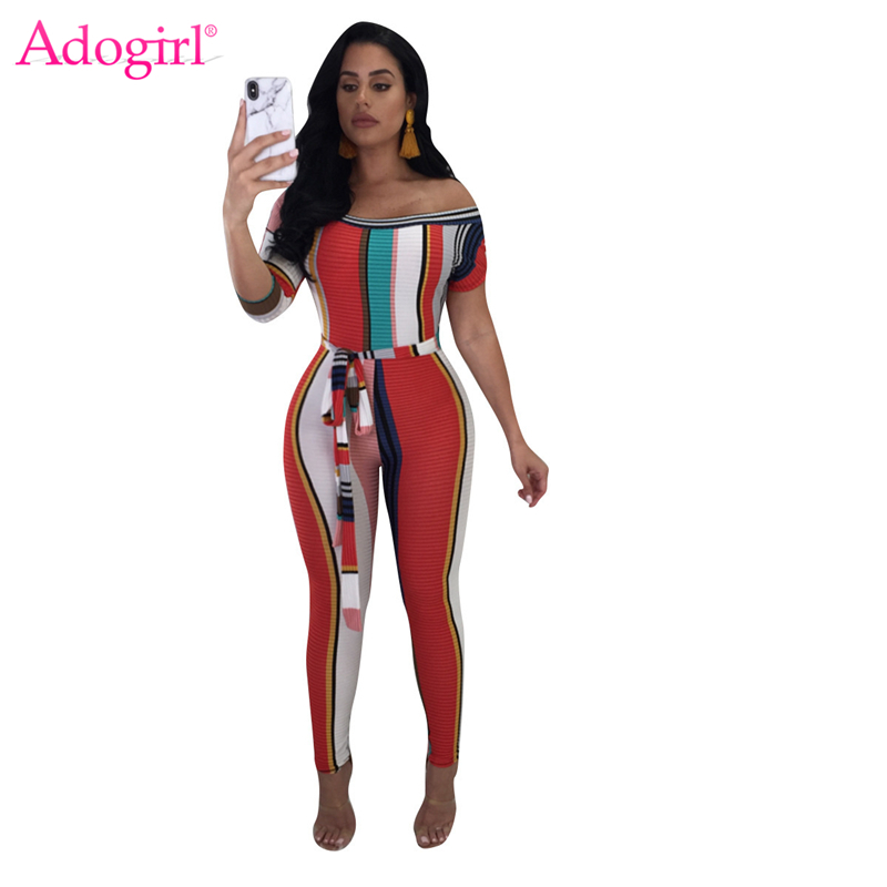 Adogirl Rainbow Colorful Stripe Off the Shoulder Women Jumpsuits 3/4 Short Sleeve Sashes Skinny Rompers Sexy Club Overalls S-XXL