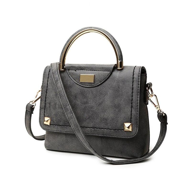 Retro Small Hand Bag Women Fashion PU Shoulder Bag Semicircular Handles Rivet Flap Bag font b