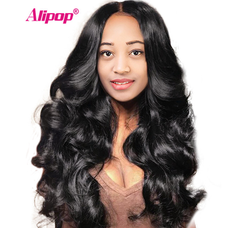 "[ALIPOP] Pre Plucked Brazilian Lace Front Human Hair Wigs With Baby Hair 8""-24"" Body Wave Lace Wig For Black Women Non-Remy"