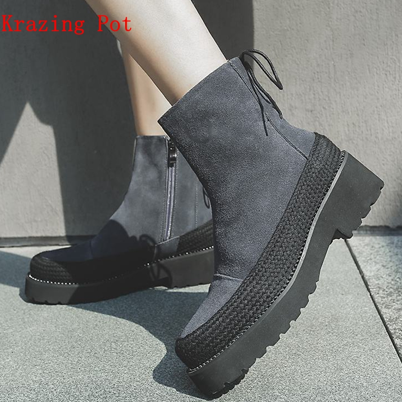 krazing pot Winter natural cow suede motorcycle boots punk rock solid color big size round toe zipper fasteners ankle boots L28 krazing pot winter kid suede cow leather patch work high heel basic boots winter zipper round toe office lady ankle boots l12