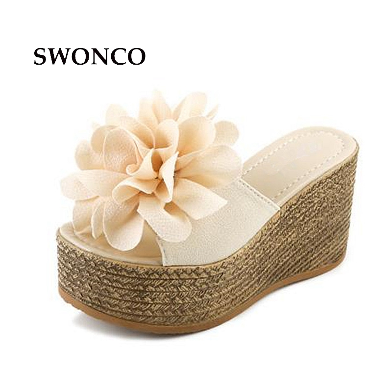 SWONCO Women's Slippers 2018 Summer Woman Shoes Platform Beach Slides Slippers Women Summer Beach 9cm High Heels Slides swonco women s slippers half shoes candy color breathable female slipper 2018 woman slippers summer sandals ladies beach shoes