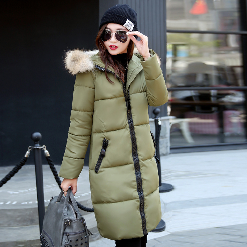2016 Down Parka Winter Jacket Women Cotton Padded Thick Ultra Light Long Coat Faux Fur Collar Hooded Female Jackets For Woman fashionable thick hooded pleated down coat for women