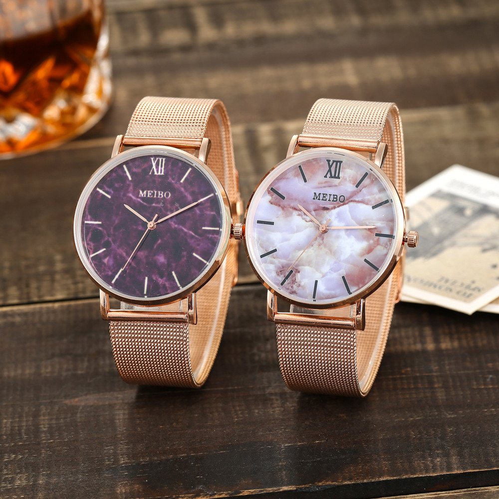 Montre Femme Bayan Kol Saati Zegarek Damski MEIBO Women's Casual Quartz Stainless Steel Marble Watch Analog Wrist Watch