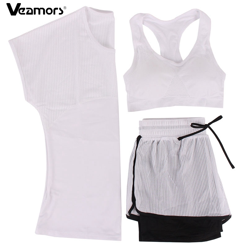 VEAMORS 3 Pcs Women Breathable Yoga Set Yoga T-Shirt &Bra &Shorts Sport Suit Quick Dry Gym Running Fitness Sets Sport Wear women yoga suit outfit fitness clothes running outdoor jogging clothing gym sport 5 pcs set bra t shirt jacket short pant