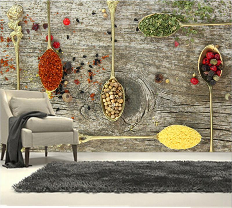 Restaurant Kitchen Wallpaper custom 3d large mural,spices spoon food wallpapers papel de parede