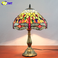 Vintage Style Classic Dragonfly Table Lamp Stained Glass Tiffany Lamp Living Room Hotel Wedding Lamp Decor