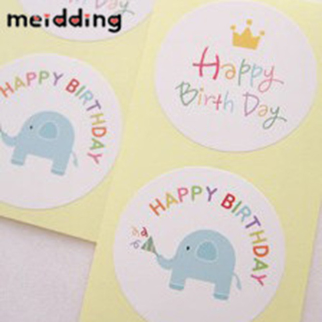 Meidding 60 Stks Gelukkige Verjaardag Olifant Kraft Seal Sticker Diy