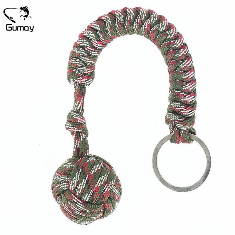 Gumay 1pc Heavy Steel Steel Ball Inside Monkey Fist Security for Self Defense Tent Lanyard Fist Survival Key Chain Tool ...
