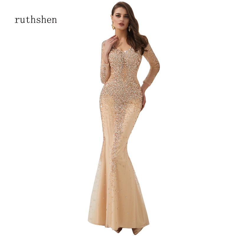 ruthshen Full Sleeves   Evening     Dress   Long Sequined Nude V-Neck Luxury Formal   Dress   Club Wear Party Maxi   Dresses   Sexy Mermaid Gown