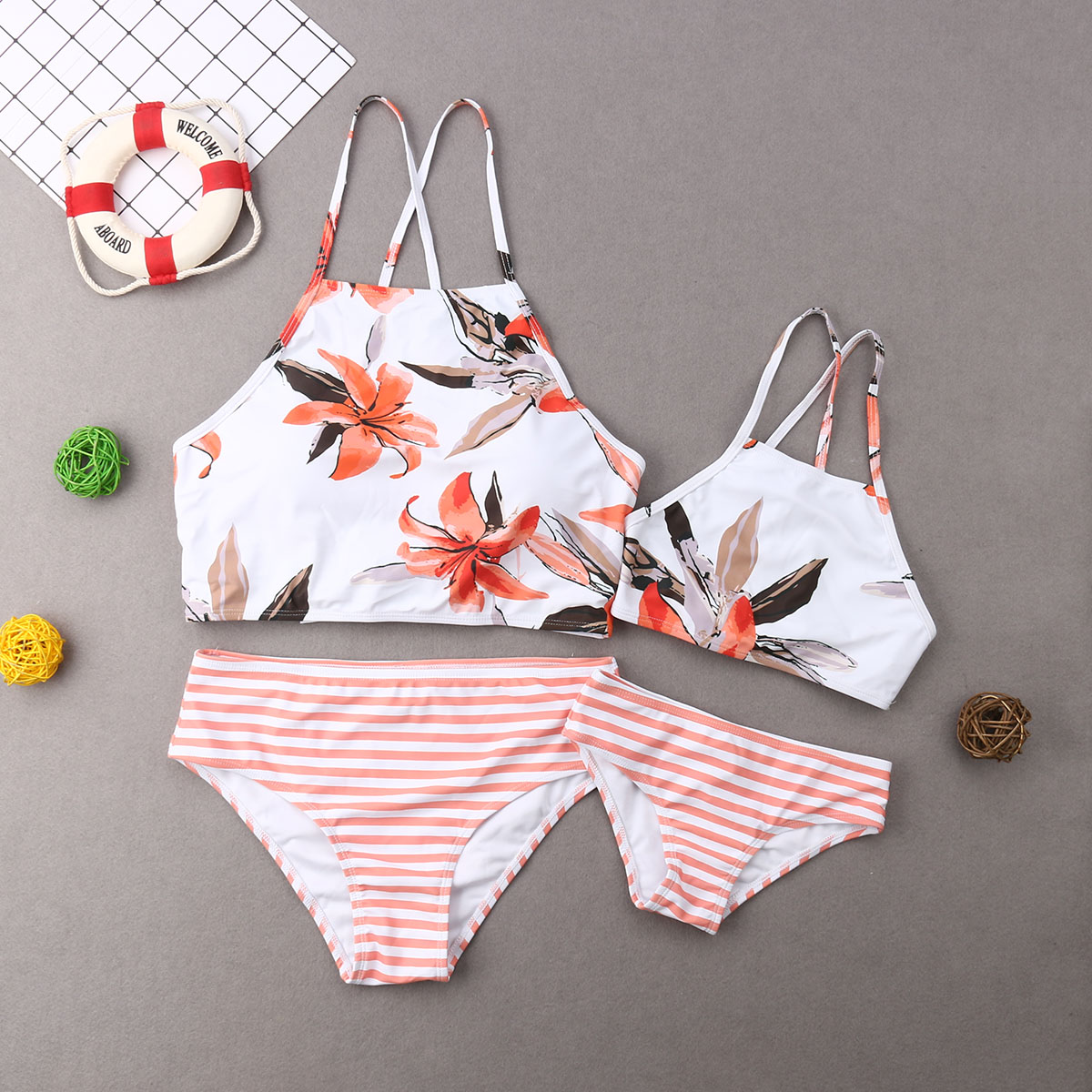 Leaf Mother And Daughter Swimwear Striped High Waist Bikini Mommy And Me Swimsuits Family Matching Clothes Beach Outfits Look