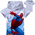 2016 New Boys T-shirt Kids Baby Spiderman Children Clothing with Cap 2 Color YY1337