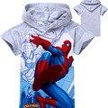 2016 Novos Meninos T-shirt Do Bebê Dos Miúdos Do Homem Aranha Crianças Roupas com Cap 2 Cores YY1337