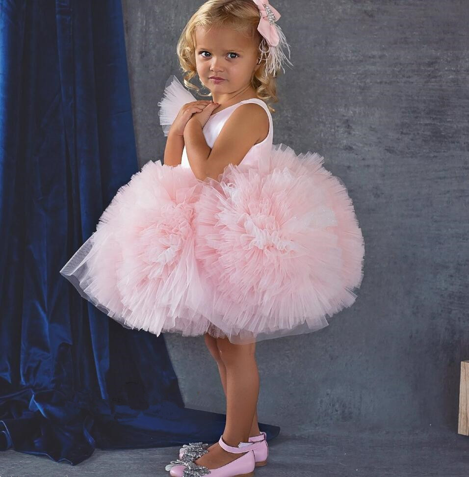 Lovely Blush pink Puffy tulle Ruffles flower girl dresses for party Christmas knee length baby 1st birthday gown with headpiece