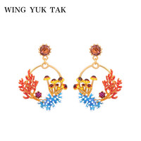 French Style Hand Painted Enamel Earrings For Women Korean Fashion Sweet Boho Gold Color Drop Earrings High Quality Jewelry 2019