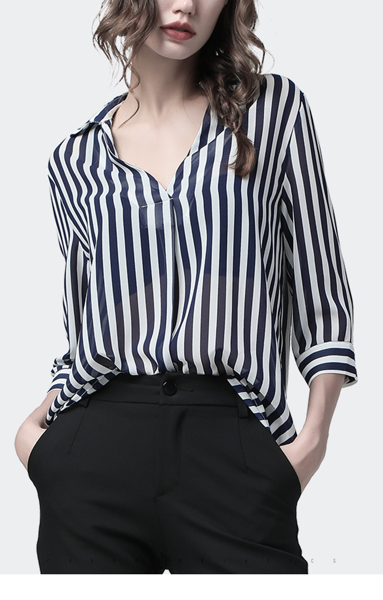 US $35.38 42% OFF Fashion Women Striped Blouse POLO Shirt New 2019 Summer 710 Sleeve Loose Fitting fairy Shirts Streetwear Korean Style Woman Top in