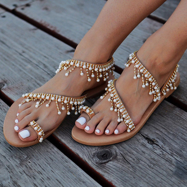 Women sandals 2018 new summer shoes flat pearl sandals comfortable string bead slippers women casual sandals size 34 – 43