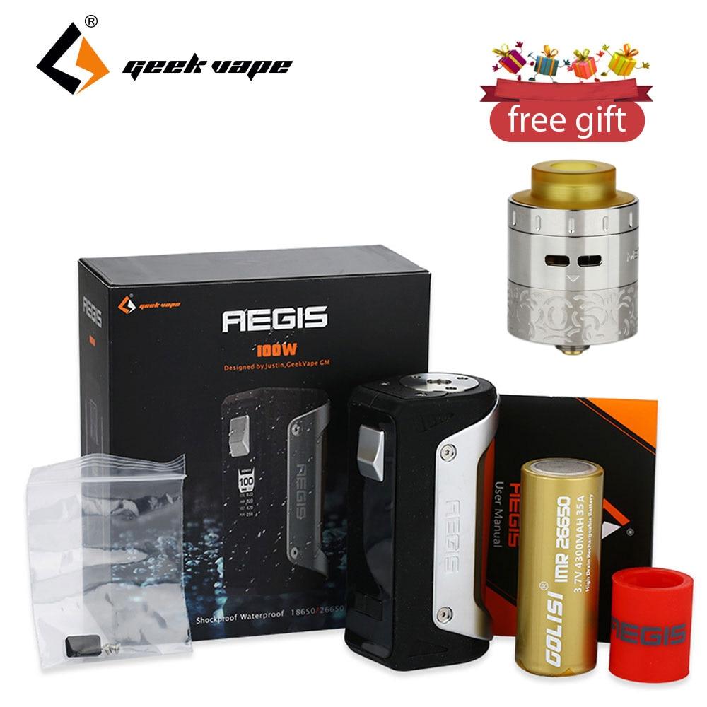 Original 100W GeekVape Aegis TC Box MOD 4300mah 26650 Battery & 3ml Geekvape Medusa RDTA Tank Free Gift E-cig Aegis TC Mod Kit voopoo drag 157w tc box mod