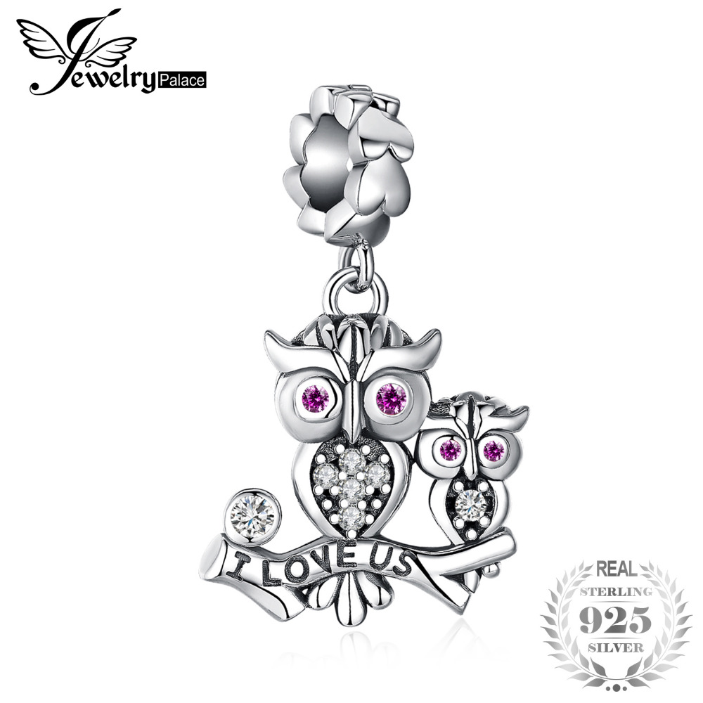 JewelryPalace 925 Sterling Silver Created rubiowl familiar Charm Beads Fit pulseras New Hot Sale para mujeres como hermosos regalos