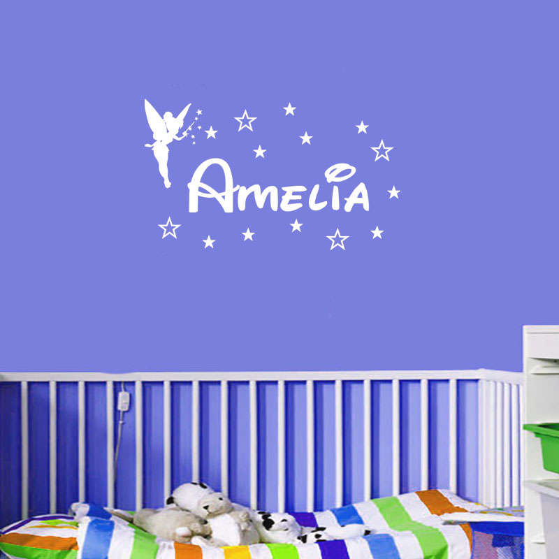 New Custom Personalized Name Magic Girl Tinkerbell Wall Stickers Lettering  Home Decoration Girl Bedroom Vinyl Wall Decals Quotes In Wall Stickers From  Home ...