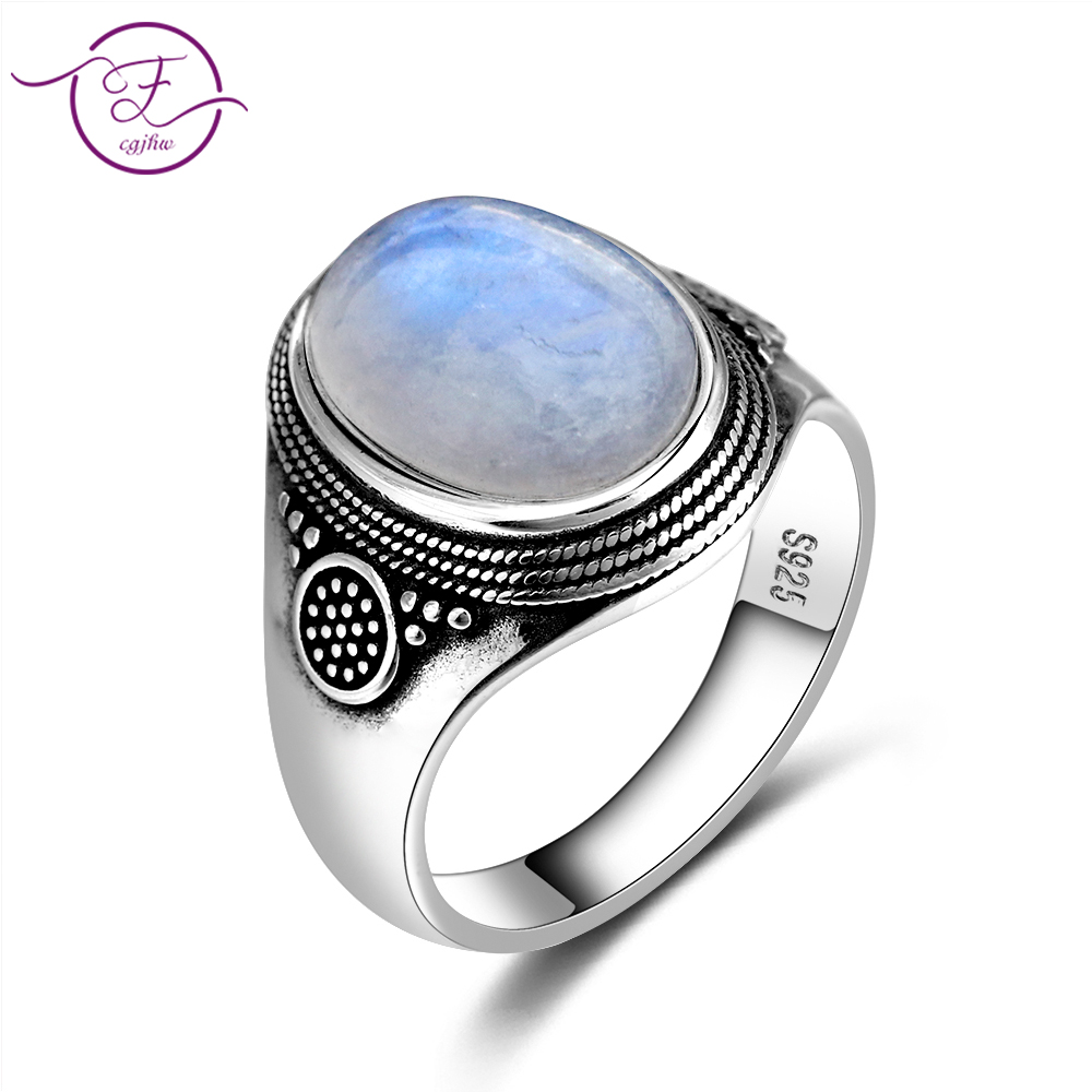 Natural Moonstone Ring Lady 925 Silver Jewelry Retro Party Ring 10x14MM Large Ellipse Gem Gift Wholesale(China)