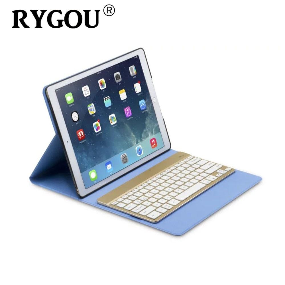 RYGOU For iPad Pro 12.9inch Ultrathin Folio PU Leather Case Detachable 7 Colors Backlight Backlit Wireless Bluetooth Keyboard
