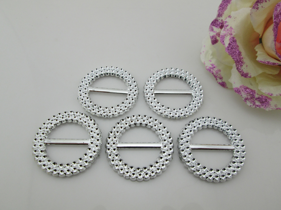 (AB86 21mm)100pcs Double Round Rhinestone Plastic Buckle For Craft