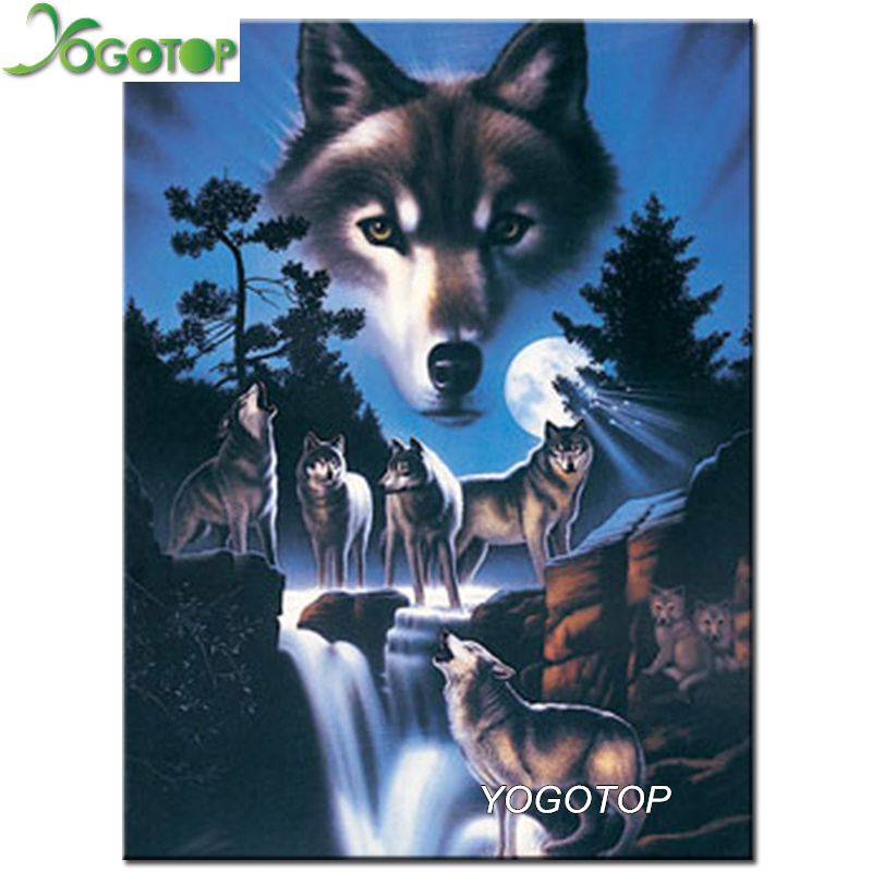 Diamond Painting Cross Stitch Energetic Yogotop Diy Diamond Painting Cross Stitch Waterfall Wolf Needlework Square Diamond Embroidery Home Decoration Mosaic Kits Cv106 Up-To-Date Styling