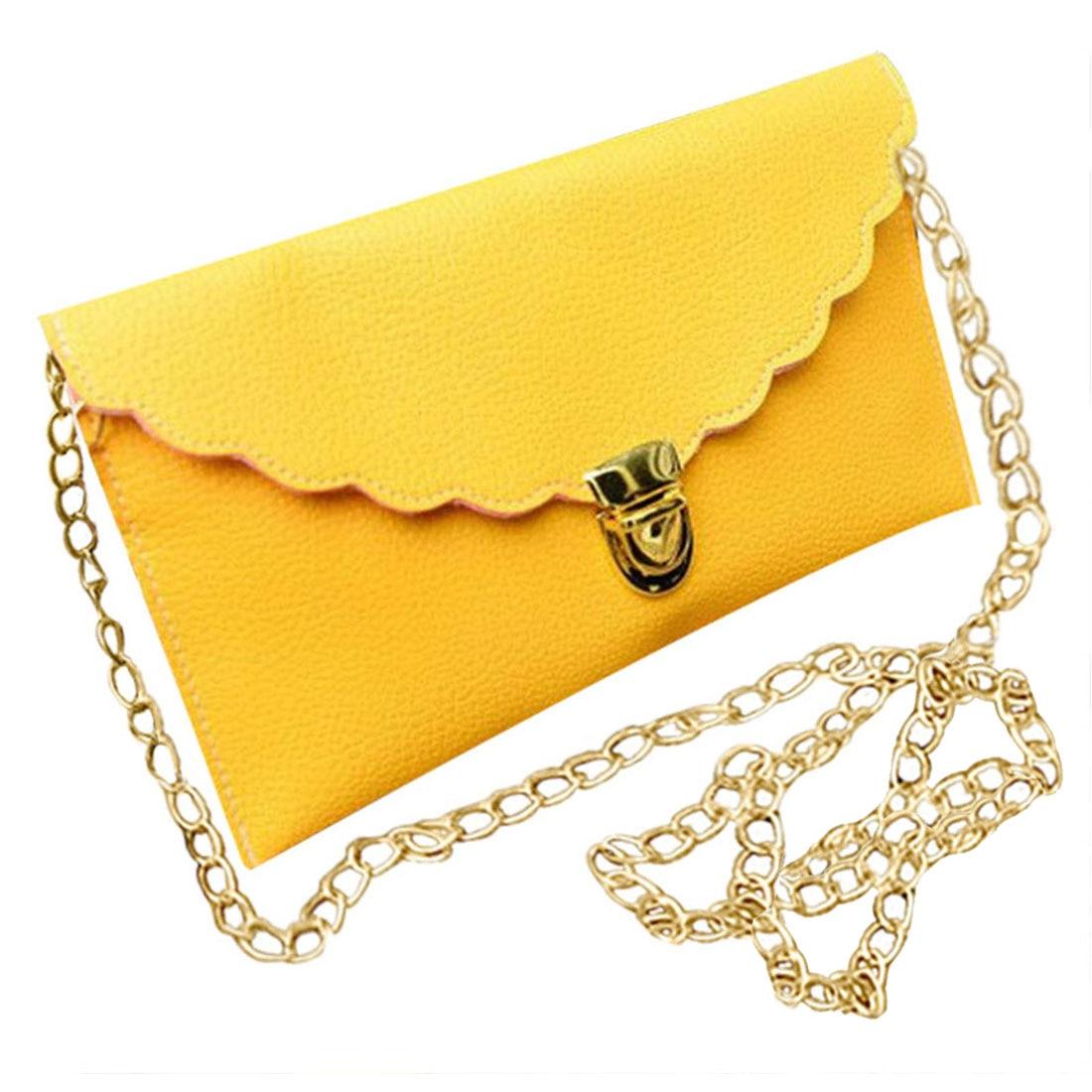 Ladies Handbag Imitation Leather Shoulder Bag Fashion Wallet Long Metal Chain Lady Handbag, Yellow ladies handbag long chain female bag 14 colors lmitation leather shoulder bag fashion wallet metal chain lady handbag wholesale