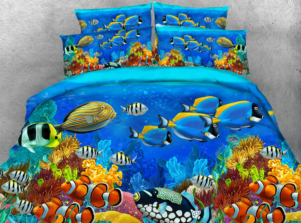 3pcs Colorful Deep ocean fish print duvet cover set Clown fish bedding sets gift for kids single Full Queen King size-in Bedding Sets from Home & Garden    1