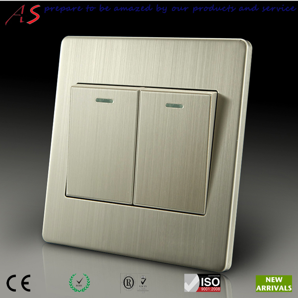 Electrical Material Double Push On 1 Way Switch With Luxurious Brushed Stainless Steel Wall Plate