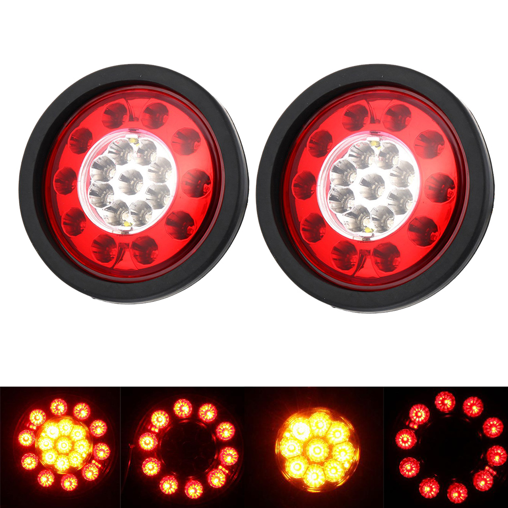1 Pair 19 LEDs Car Rear Tail Lights Round Rubber Stop Brake Lamp for 12V 24V Truck Trailer Vehicles Red Yellow