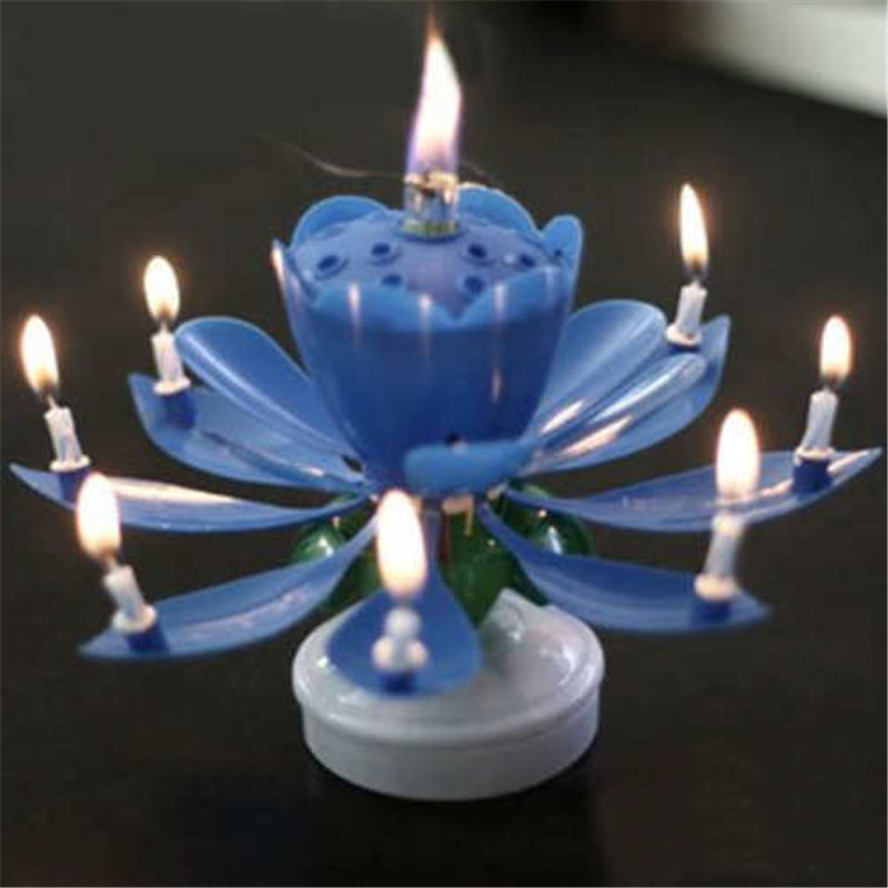 Cake Topper Blossom Lotus Flower Candles Musical Rotating Party Birthday Decor Purple Poity
