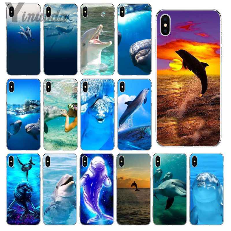 Yinuoda Animal Cute Dolphin Transparent TPU Soft Silicone Phone Case Cover for iPhone 6S 6plus 7 7plus 8 8Plus X Xs MAX 5 5S XR