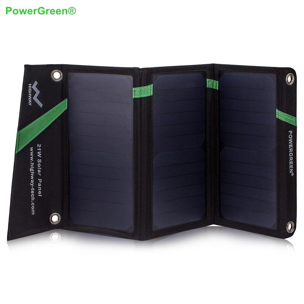 PowerGreen Pliable 5 V 2A Chargeur Solaire 21 Watts Solaire Power Bank Batterie Externe De Secours pour iPhone ou Samsung pour Xiaomi